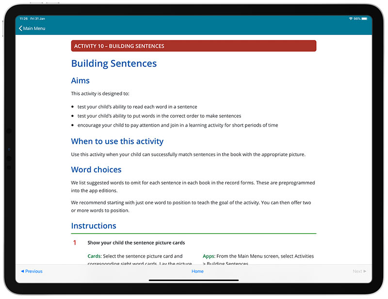 An image of the guide in the See and Learn Sentences 1 app for iPads.