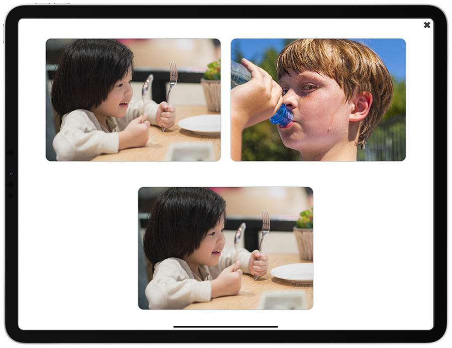 A screenshot of the Matching Pictures activity in See and Learn Sentences 1 app edition for iPads