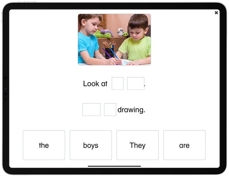 An image of an Understanding Sentences activity in the See and Learn Sentences 1 app for iPads.