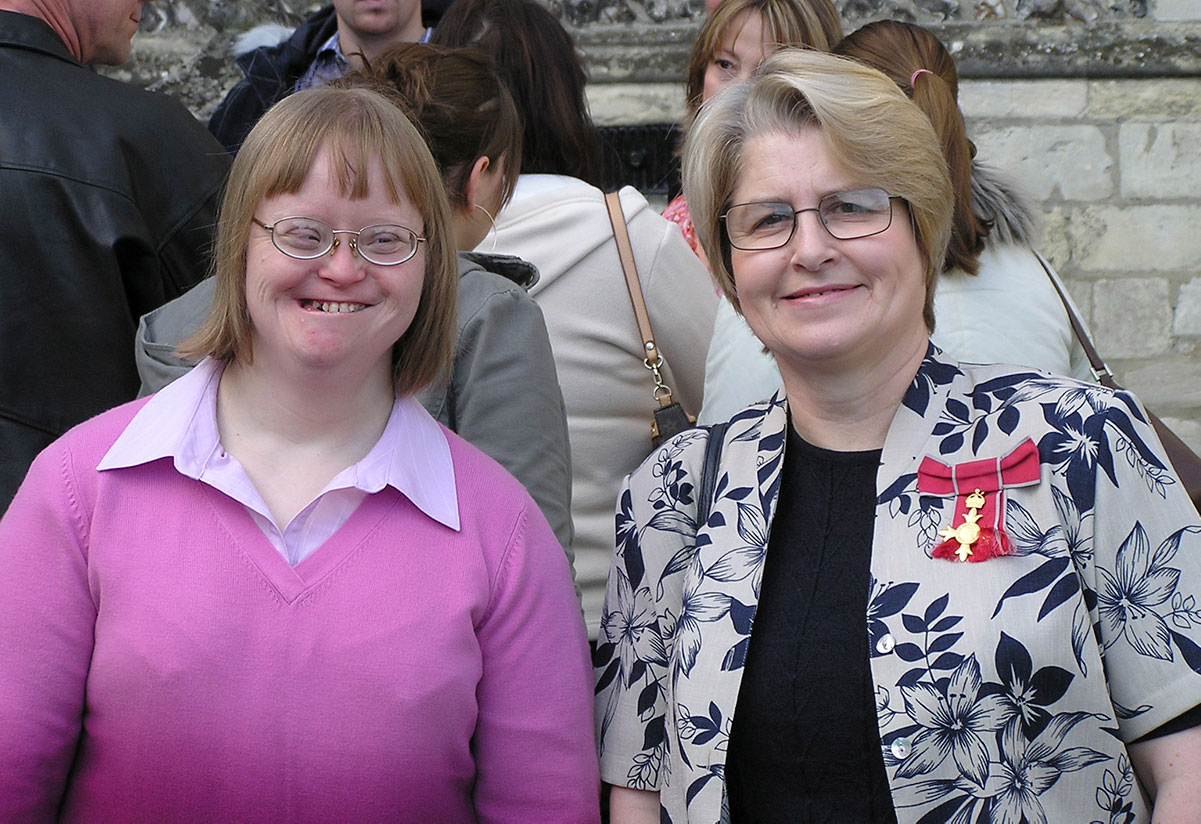 Photograph of Roberta accompanying Sue Buckley for the award of the Order of the British Empire (OBE) for services to special education in 2004.