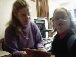 Ynez with the school secretary