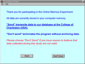 Data transfer entry screen for online experiment